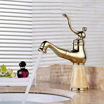 JingJingnet 流域ミキサータップ浴室のシンクの蛇口アンティーク真鍮ホット&コールドプル盆地の蛇口コンチネンタルゴールド翡翠洗面台伸縮式単穴蛇口 (Color : 1) B07S2P8GYR 1