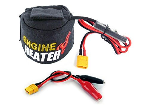 (SKYRC Engine Head Heater w LiPo Low Voltage Cutoff Detection, 12V DC Powered, Fits .19 to .26 Sized Nitro Engines, XT60 Connectors & Alligator Clips)