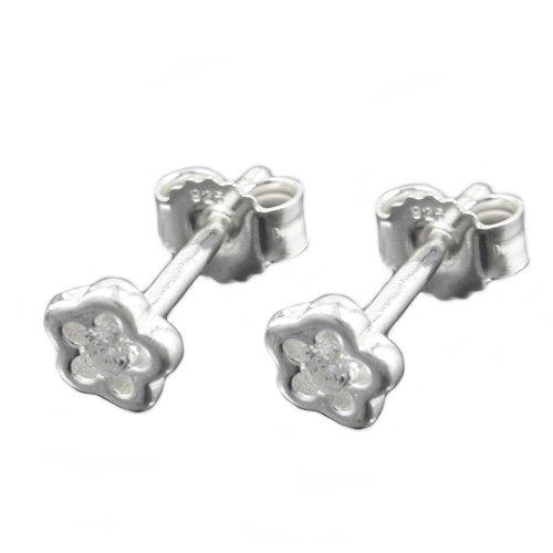 Bijoux Boucles d'oreille pour les enfants argent 925 fleur zircone 5 mm