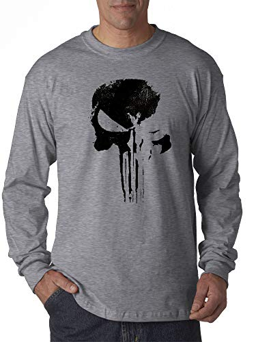 New Way 1153 - Unisex Long-Sleeve T-Shirt Daredevil Punisher Skull Blackout Logo 2XL Heather - Grey Marines T-shirt Logo New