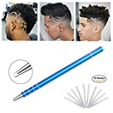 Deluxx Hair Styling Pen Kit – Professional Hair Engraving Razor Pen With 10 Sharp Stainless Steel Blades & Tweezer – Premium Beard & Eyebrow Tattoo Pen For Shaving & Cool Hair Designs