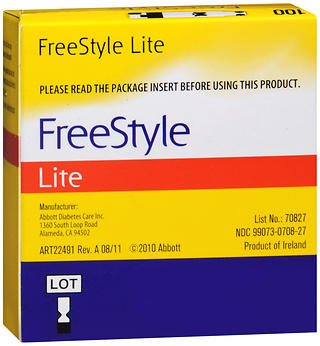 FreeStyle Lite Blood Glucose Test Strips - 100 ct, Pack of 5 by Freestyle