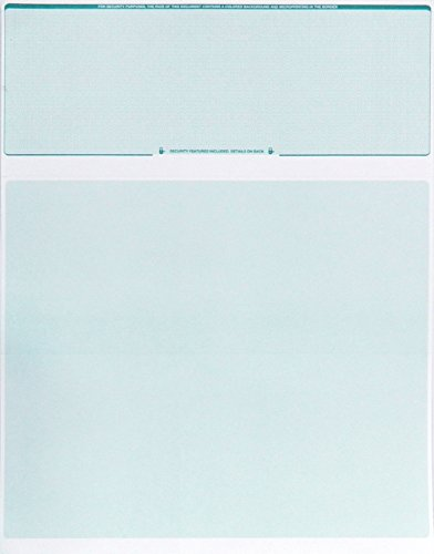 Check O Matic Computer Check Paper – Pack of 100 Blank Stock Payroll Sheets with Check on Top and Stub on Bottom – Security Features & Laser Printer Compatible for Home and Business – Green Diamond