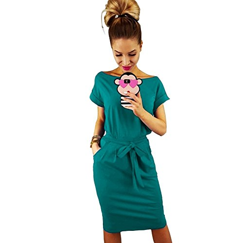 Longwu Women's Elegant Short Sleeve Wear to Work Casual Pencil Dress with Belt Malachite Green-L]()