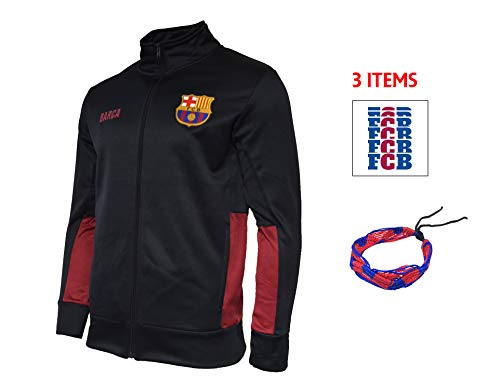 4a90ff0ed32e FC Barcelona Zip Up Grey Jacket Fleece Navy Adults Official Licensed New  Season + Sticker (Blue HKY
