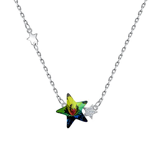 BriLove Women 925 Sterling Silver Twinkle Little Star Pendant Necklace Adorned with Swarovski Crystals Vitrail Medium