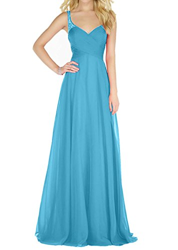 Promkleider Royal Blau Hell Abendkleider Partykleider Blau Damen Steine Traeger Charmant Chiffon mit Traeger Ballkleider axqwUSR5Pp