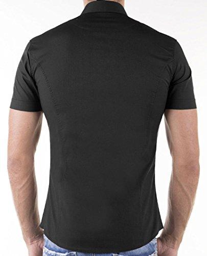 KAYHAN chemise pour homme coupe slim 10 coloris au choix pour femme s-xL -  Noir - Xx-large