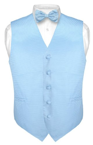 (Men's Dress Vest & BOWTie BABY BLUE Woven BOW Tie Horizontal Stripe Design sz M)