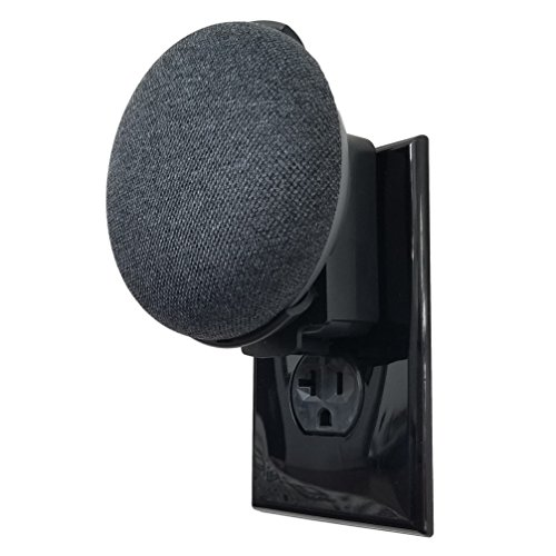 Price comparison product image The Mini Back Pack: The First Simplest and Cleanest High-End Outlet Wall Mount Hanger Stand for Home Mini Voice Assistants by Google - Designed in USA by Dot Genie (Black)