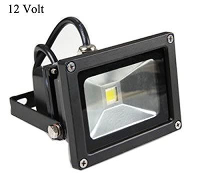 GLW® 10w 12v Ac or Dc Warm White Led Flood Light Waterproof Outdoor Lights 750lm 80w Halogen Bulb Equivalent Black Case