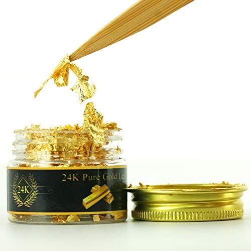 KINNO Edible Genuine Gold Leaf Flakes, 25mg 24K Gold Flakes Decorative Dishes,Genuine Gold Leaf for Cooking, Cakes & Chocolates, Decoration, Health & Spa