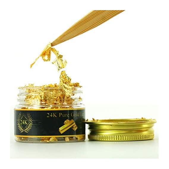 KINNO 24K Edible Gold Leaf Flakes, 25mg Genuine Gold Flakes Decorative Dishes,Pure Gold Leaf for Cooking, Cakes