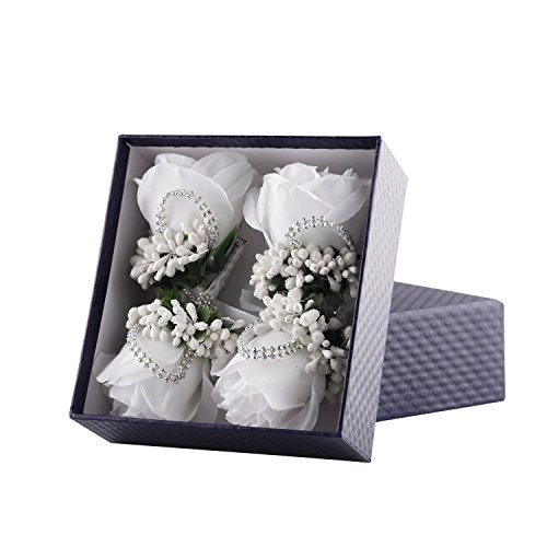 YSUCAU Rose Boutonniere Handmade Corsage Classic Artificial Groom Flowers Brooch with Pin for Wedding Prom Party (White)