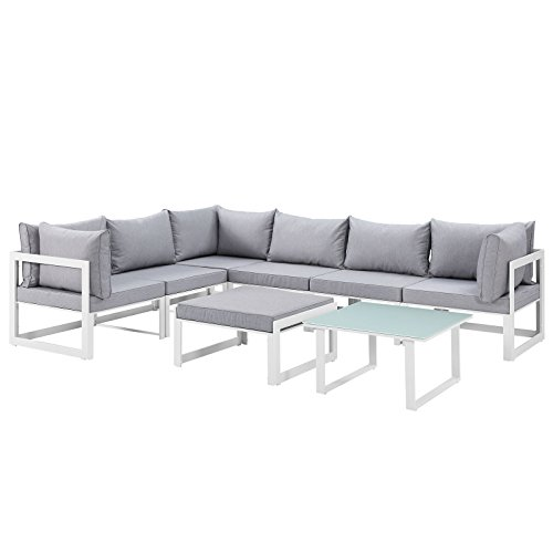 Modern Urban Contemporary 8 pcs Outdoor Patio Sectional Sofa Set, White Grey Fabric Steel ()