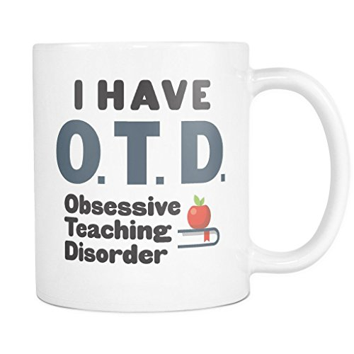ArtsyMod OTD OBSESSIVE TEACHING DISORDER Premium Coffee Mug, PERFECT FUN GIFT for Teachers, Professors! Attractive Durable White Ceramic Mug (11oz., Black/Blue Steel (Holo 2 Costumes)