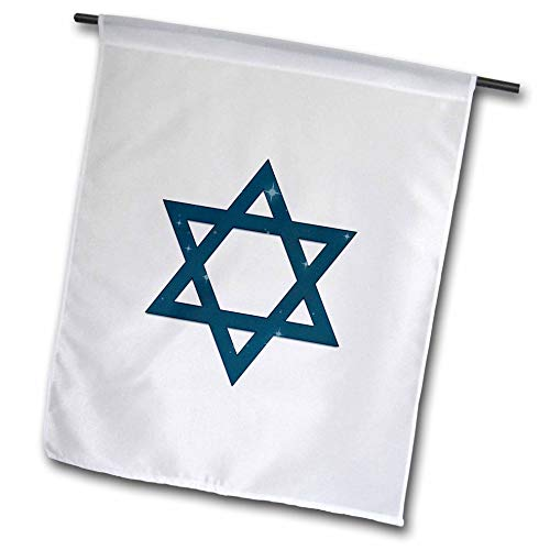 3dRose Alexis Design - Star of David - Dark Blue Star of David Decorated with Blue Stars on White - 18 x 27 inch Garden Flag (fl_300034_2)