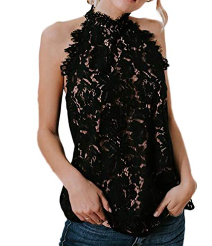 SUZEL Women's Sleeveless Halter Neck Lace Blouse Top with Lining (Black, Large)