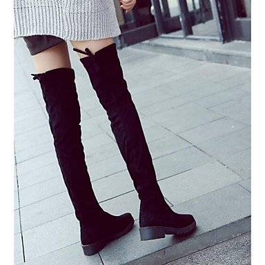 RTRY Boots Heel Fashion Nappa EU36 For Leather Thigh Chunky Casual Boots Women'S UK3 5 Boots Leather Winter Boots 5 US5 Black Slouch High CN35 Shoes 0qY07r