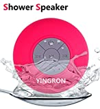 Waterproof Bluetooth Shower Speaker,Yingron Pool Wireless Portable Speakers with Suction Cup Handsfree, Up to 4-Hour Playtime, Built-in Microphone for Calls for iPhone, iPod, iPad, Samsung(Pink).