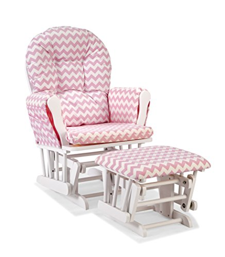 Glider and Ottoman, White/Pink Chevron