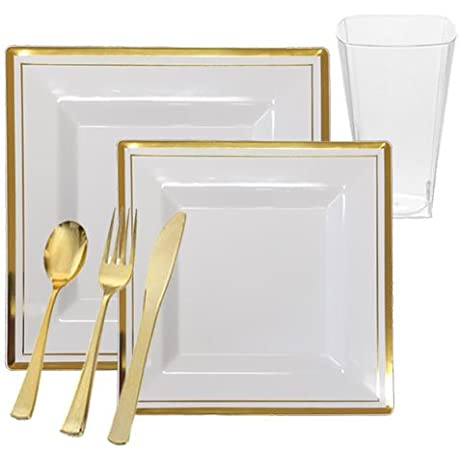 Square White Plastic Plates With Gold Rim Dinnerware Set For 120 Guests 720 Piece Total