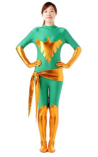 [Blacksunnyday Female Lycra Shiny Metallic X-men Jean Dark Phoenix Catsuit (XL, Green)] (Female X-men Halloween Costumes)