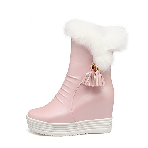 Fur BalaMasa Pink Boots Tassels Cold Faux Womens Zipper Weather Comfort PxP0S6
