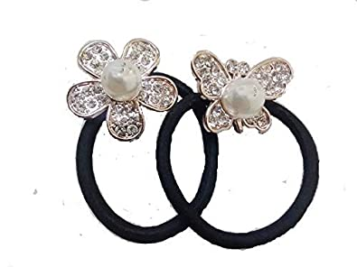ORAS Designer Party Wear Crystal Rhinestone with Pearl Beautiful Silver  Stone Hair Accessories Black Elastic Hair f4a49587c8be