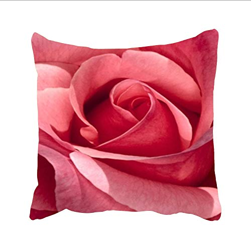 Rustic Throw Pillow Cushion Cover,Pink Roses Wallpaper Decorative Square Accent Pillow Case
