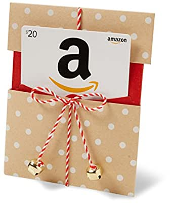 Amazon.com $20 Gift Card in a Kraft Paper Reveal with Jingle Bells (Classic White Card Design)