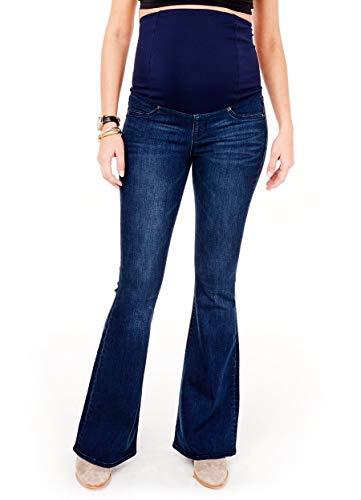 Ingrid & Isabel Women's Maternity Over The Belly Pregnancy Stretch Flare Denim Jeans True Blue - Dark Flare Wash