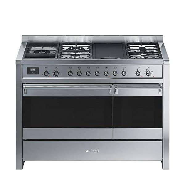"""Smeg Opera Series 48"""" Freestanding Dual Fuel Range Stainless Steel Multi-Function Dual Ovens, 12 Cooking Functions Including European Convection & Rotisserie, Storage Drawer, Griddle & 5 Burners 1"""