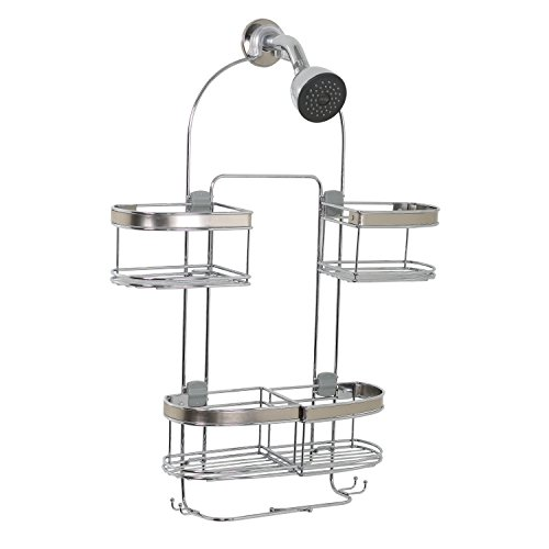 (Zenna Home E7546STBB, Expandable Over-The-Showerhead Caddy, Stainless Steel )