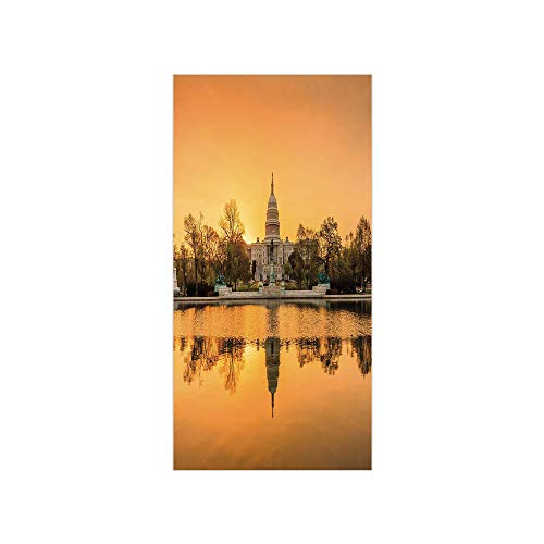 Ylljy00 Decorative Privacy Window Film/Washington DC American Capital City White House Above The Lake Landscape/No-Glue Self Static Cling for Home Bedroom Bathroom Kitchen Office Decor Apricot Ginger]()