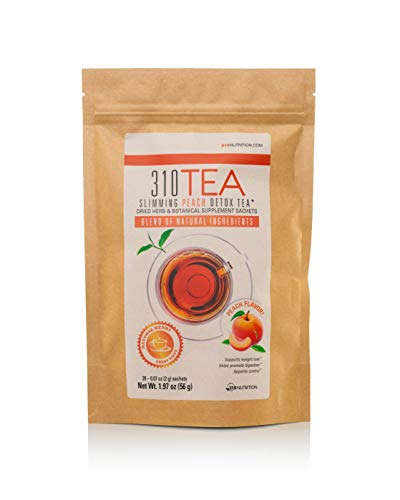 Detox Tea, 28 Servings | 310 Tea (Peach) Fights Bloating and Appetite Suppressant, Increases Metabolism | Organic Green Tea with Yerba Mate, Guarana, Ginger, and Many More Cleansing Ingredients