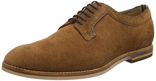 H by Hudson Men's Albany Suede Plain Toe Derby Shoes, Cognac, 42 EU (9.5 D(M) US Men) (Albany Shoe Mens)