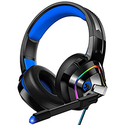 ZIUMIER Gaming Headset for PS4, Xbox One, PC, Nintendo Switch, Noise Cancelling Over-Ear Headphones with MIC, RGB LED Light, Bass Surround, Wired Multi-Platform Headset