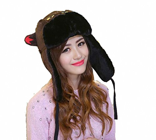 JcxHat Women Shark Demon Animal Ears Corduroy Bomber Hats Trapper Hat Tough Windproof Shell Ski Earflaps Ushanka Cap