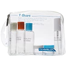 Travelon Luggage 1-Quart Zip-Top Bag With Plastic Bottles, Clear, Small, Assorted color caps