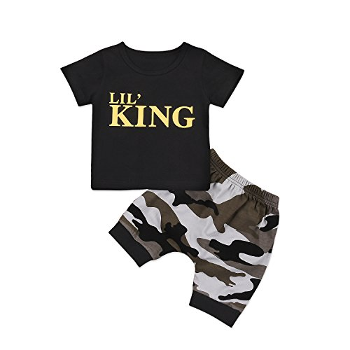 Catpapa Newborn Baby Boys Girls Short Sleeve T-Shirt Tops + Camouflage Shorts Pants Clothes Outfits Sets (King, 0-3 Month)