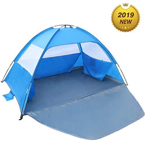 Venustas Beach Tent Beach Umbrella Outdoor Sun Shelter Canopy Cabana UPF 50+ Sun Shade Easy Set Up 3-4 Person, Lightweight and Easy to Carry