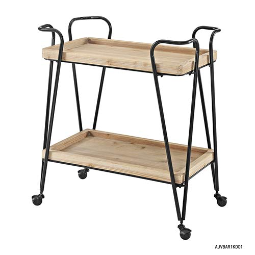 (Brighton Hill Mid-Century Black and Wood Wine Rack with Wheels)
