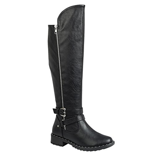 FOREVER FP10 Womens Metallic Studded Side Zip Ankle Strap Over Knee High Boots Black QF76e5W