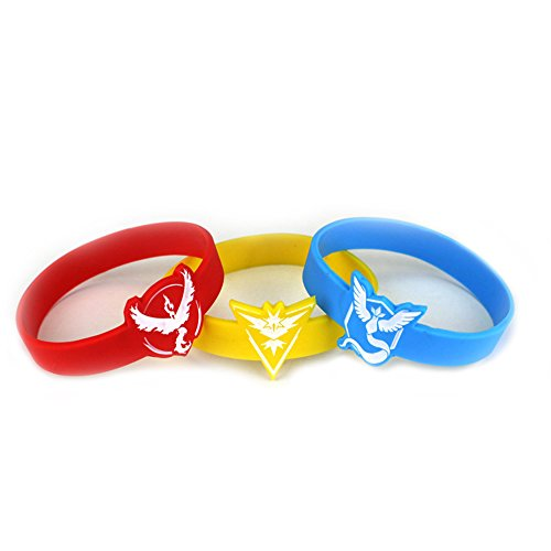 [Pokemon 3-Pack Color Teams Pokemon Silicone Bracelets in Gift Box by Superheroes] (4 Star Dragonball Costume Color)