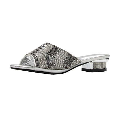 Women's Rhinestone Glitter Sparkles Open Toe Low Heeled Sandals with Memory Foam (9, Silver) by Stylish & Comfort