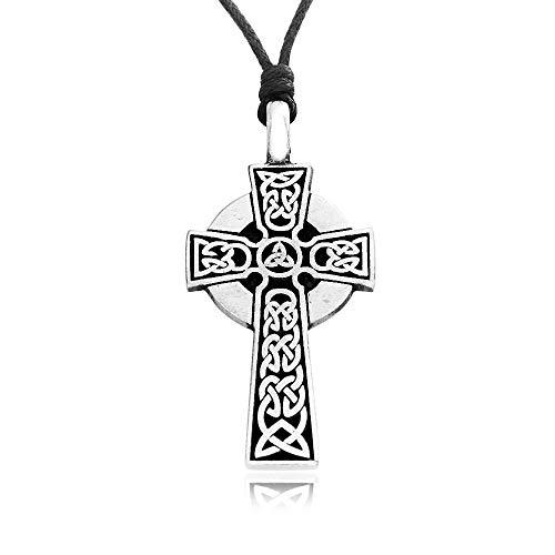 Namaste Jewelers Irish Knot Celtic Cross Pendant Necklace Pewter Jewelry