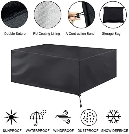 Alomejor Garden Table Chair Cover Rectangular Table Chair Cover Waterproof Garden Furniture Covers Outdoor Seat Table Cover Breathable Windproof with Storage Bag for Outdoor Furniture Protection
