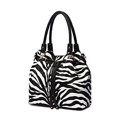 Zebra Stripe Pattern Drawstring Magnetic Purse Women Handbag Fashion Shoulder Bag Matching Wallet Set