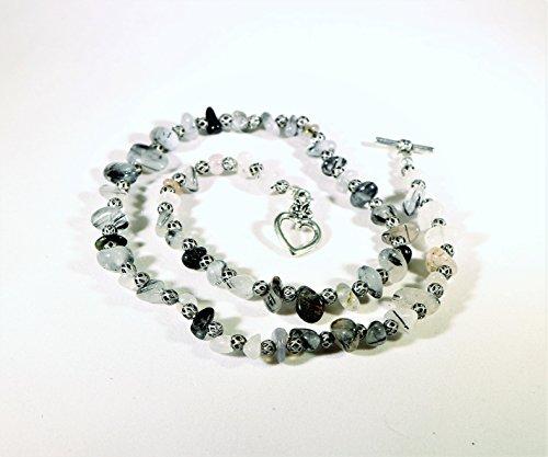 Tourmalinated Quartz and Antiqued Silver bead ()